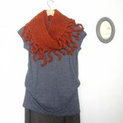 Savages, crochet fringe infinity scarf, loop scarf, cowl in cinnamon