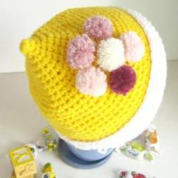 Crochet kids beanie hat with pompoms